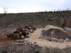 hugelkultur stone border