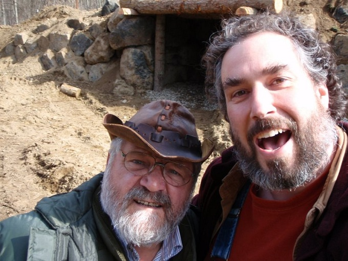 Me and Sepp Holzer in front of root cellar